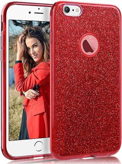 "Image ofCoovertify Funda Purpurina Brillante Red Rose iPhone 6/6S, Carcasa roja Resistente de Gel Silicona con Brillo Rojo Rosa para Apple iPhone 6 6S (4,7"")"