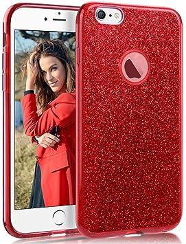 Coovertify Funda Purpurina Brillante Red Rose iPhone 6/6S, Carcasa roja resistente de gel silicona con brillo rojo rosa para Apple iPhone 6 6S (4,7)