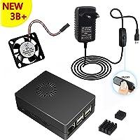 5V 3A Chargeur Adaptateur alimentation + case cas boiter + dissipateurs de chaleur + Ventilateur pour Raspberry Pi 3 modèle B+ Plus