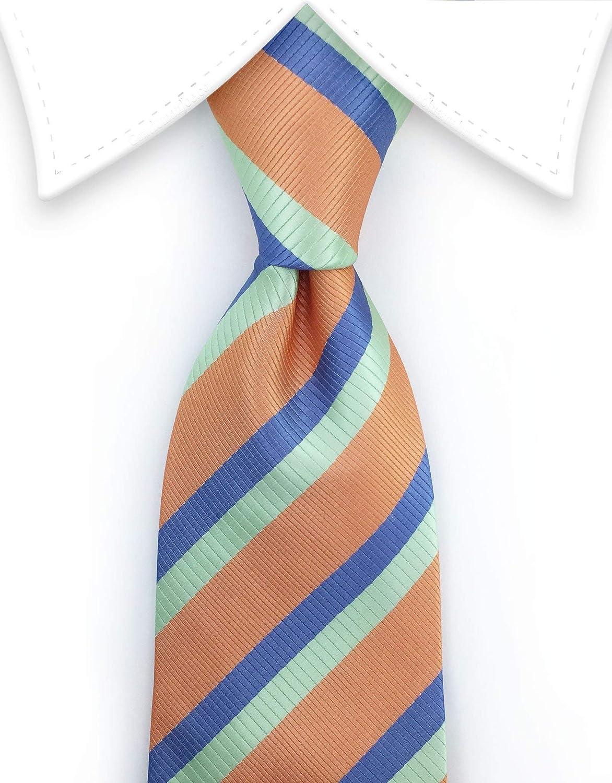 Gentleman Joe Peach Mint Green /& Steel Blue Striped Tie Multicolored
