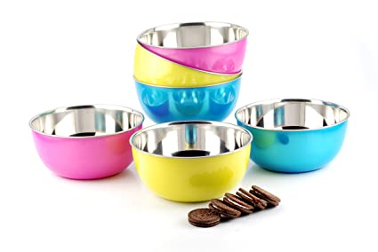 - Set of 6 14cm LIEFDE microwave Safe Stainless Steel Bowl Pink, SWT SI 0015
