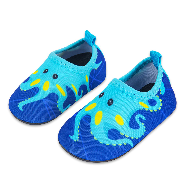Lauwodun Baby Boys Girls Water Shoes Barefoot Aqua Sock Shoes for Beach Pool Surfing Yoga Swimming Walking-Green Octopus1819 by Lauwodun (Image #2)