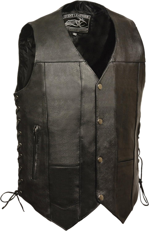 Event leather Mens Single Panel Back 10 Pocket Vest with 6 Inside Pocket Black, XXX-Large