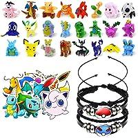 Lunriwis Juego de Juguetes de Pokémon de Pokémon, 24 Unidades de Minifiguras de Pokémon, 2 Pulsera Trenzada de Pokemon…