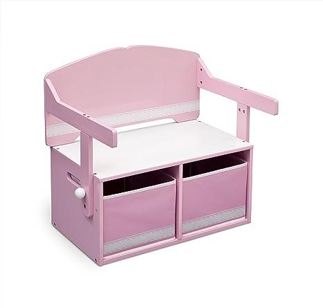 Delta Children 3 En 1 - Banco de almacenamiento y escritorio, color rosa y blanco