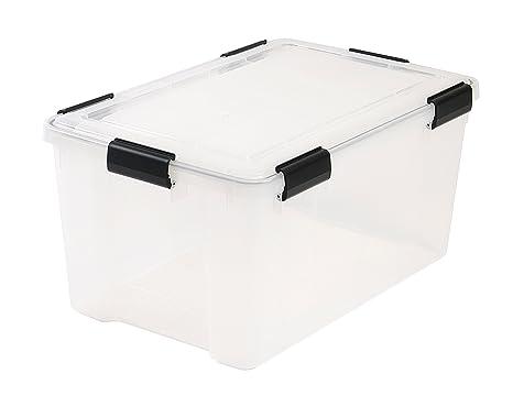 Contenedor de plástico transparente para almacenamiento, 50 litros de capacidad,59 x 39 x