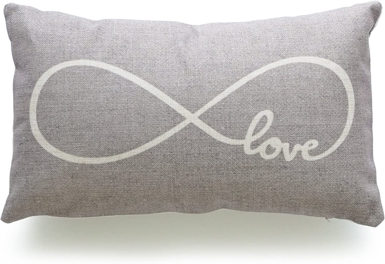 "Hofdeco Decorative Lumbar Pillow Cover HEAVY WEIGHT Cotton Linen His and Her Gray Infinite Love 12""x20"" 30cm x 50cm"