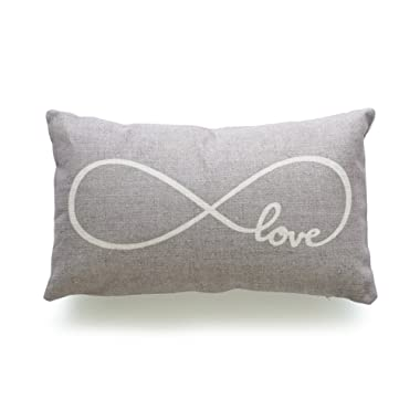 Hofdeco Decorative Lumbar Pillow Cover HEAVY WEIGHT Cotton Linen His and Her Gray Infinite Love 12 x20  30cm x 50cm
