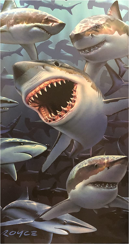 copa 30x60 Fiber Reactive Shark Beach Towel (Multi Shark)