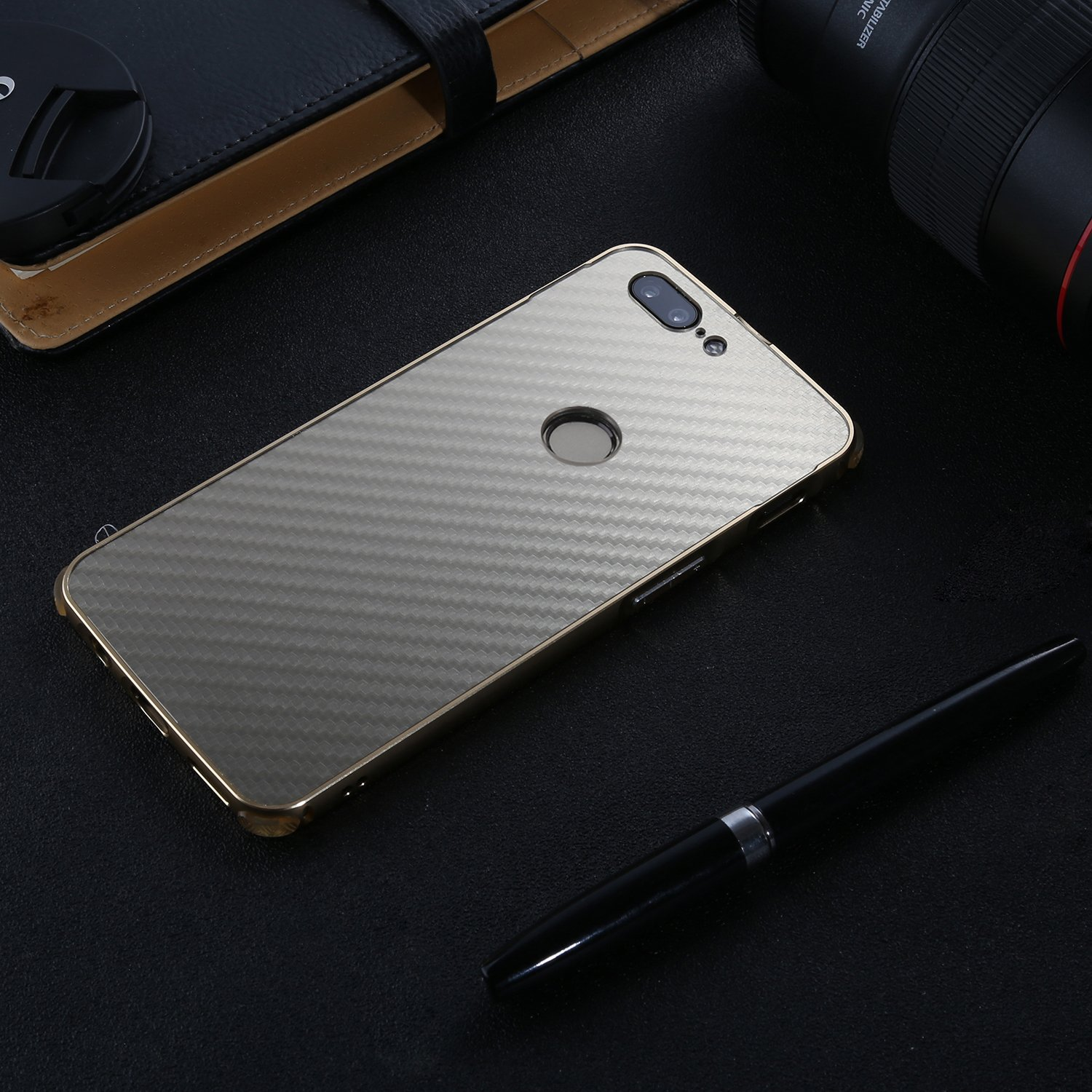 Oneplus 5T Case,DAMONDY Luxury Carbon Fiber Design Ultra thin Imitation Metal Brushed Premium Aluminum Shockproof Protective Bumper Hard Back Case Cover for OnePlus 5T (2017)-Gold by DAMONDY (Image #2)