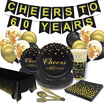 Pandecor 60th Birthday Party Supplies -Serves 10 Guests- 97 PCS Gold and Black Cheers to 60 Years Disposable Tableware Plates Set for 60 Years Anniversary Party: Health & Personal Care