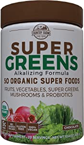 Country Farms Super Greens Chocolate Flavor, 50 Organic Super Foods, USDA Organic Drink Mix, 20 Servings (Packaging May Vary), 10.6 Ounce (N9880)