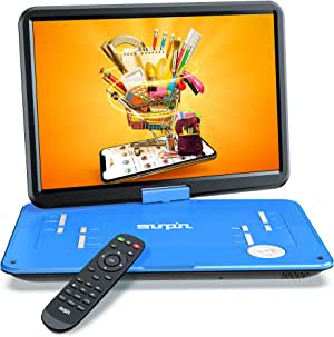"""SUNPIN 17.9"""" Portable DVD Player with 15.6 inch Large HD Swivel Screen, Long Lasting Rechargeable Battery, Support USB/SD Card/AV in&Out and Multiple Disc Formats, Louder Stereo Speaker, Blue"""