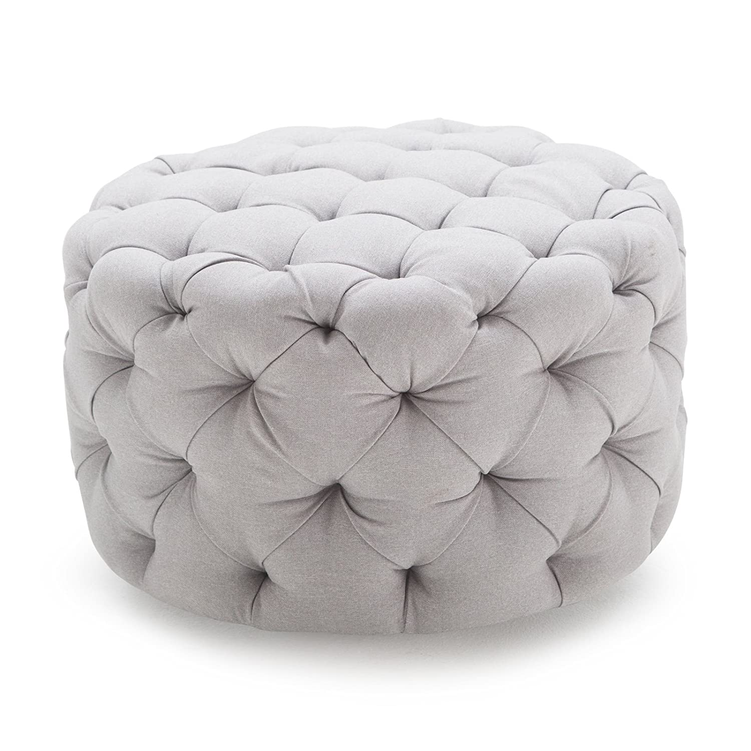 Amazon.com Belham Living Allover Round Tufted Ottoman - Grey Kitchen u0026 Dining  sc 1 st  Amazon.com & Amazon.com: Belham Living Allover Round Tufted Ottoman - Grey ... islam-shia.org