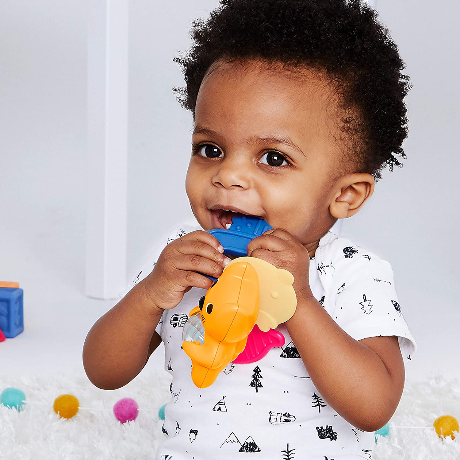Skip Hop Stay Cool Teether Fox BPA-free and Freezer Safe Silicone Coated Baby Teether