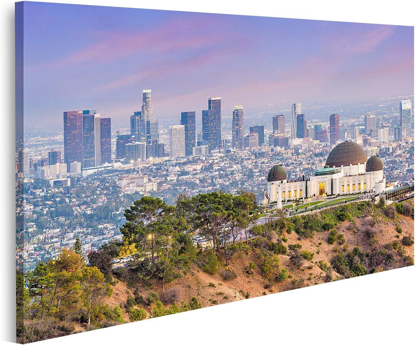 islandburner Cuadro en Lienzo Los Angeles California USA City Center Skyline de Griffith Park Cuadros Modernos Decoracion Impresión Salon