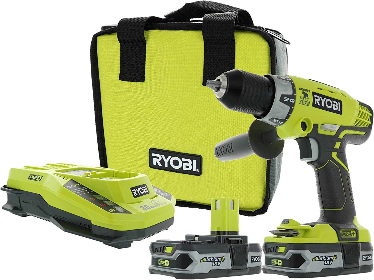 Ryobi P1812 One 18V Lithium Ion Cordless 600 Inch Pound Hammer Drilling Combination Kit 1 x P214 Hammer Drill, 2 x P107 18V Batteries, 1 x P117 Charger, 1 x Tool Bag