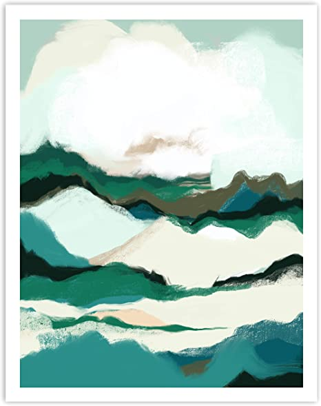 Amazon Com Printsmo Blue Modern Abstract Landscape Art Print Neutral Tones Minimalist Art Prints For Home Decor Boho Style Wall Art Poster 11x14 Inches Unframed Posters Prints