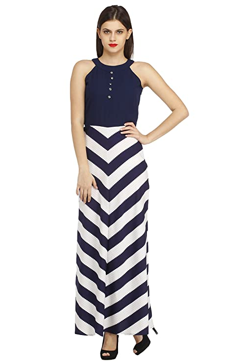 cottinfab Striped Maxi Dress Women's Kurtas & Kurtis at amazon