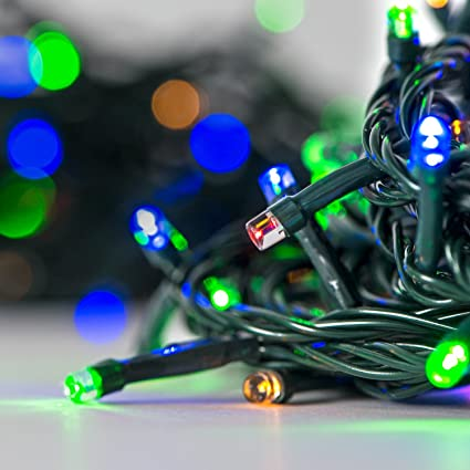 Christmas String Lights.100 Led Multicolored Christmas String Lights 30 Ft Battery Operated Auto Timer 8 Light Modes Water Resistant Indoor And Outdoor Use
