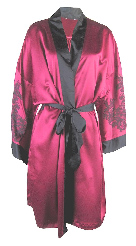 70947f88a5ec Ladies / Womens Satin Kimono Wrap Dressing Gown Ex - Marks & Spencer M&S  (18, Burgundy): Amazon.co.uk: Clothing