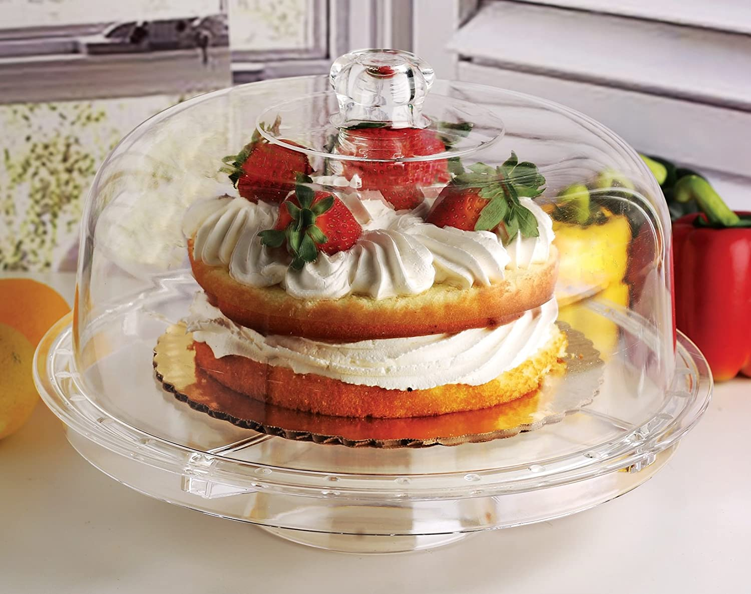 Circleware Acrylic Multi-Functional Glass Cake Stand Plate with Dome Home & Kitchen Entertainment Serveware for Fruit, Ice Cream, Dessert, Salad, Cheese, Candy, Food Serving Platter, 12