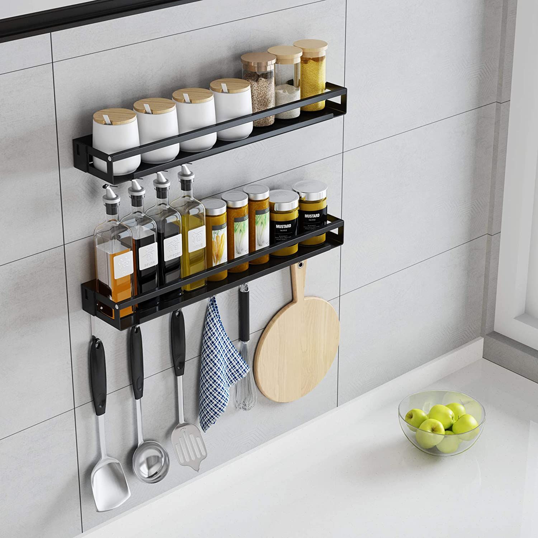 Kitchen Cabinet Door Spice Clip Rack Organizer Wall Mount Storage Home Organizer