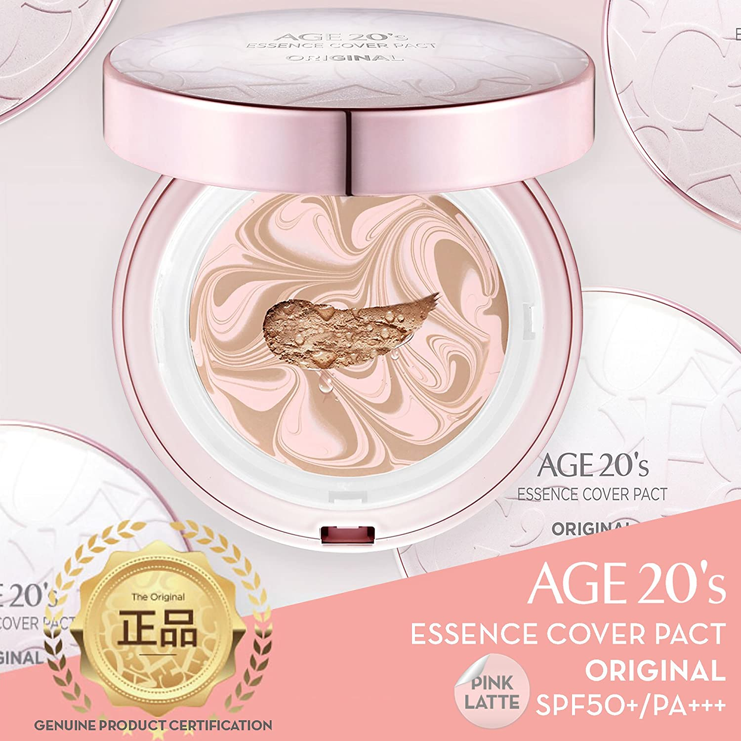 Age 20's Compact Foundation Makeup, Essence Cover Pact SPF50+ Sunscreen (Wrinkle-Smoothing & Brightening) with 68% Hyaluronic Serum (Made in Korea) - Color No. 23 - Pink / Natural Beige Latte AEKYUNG