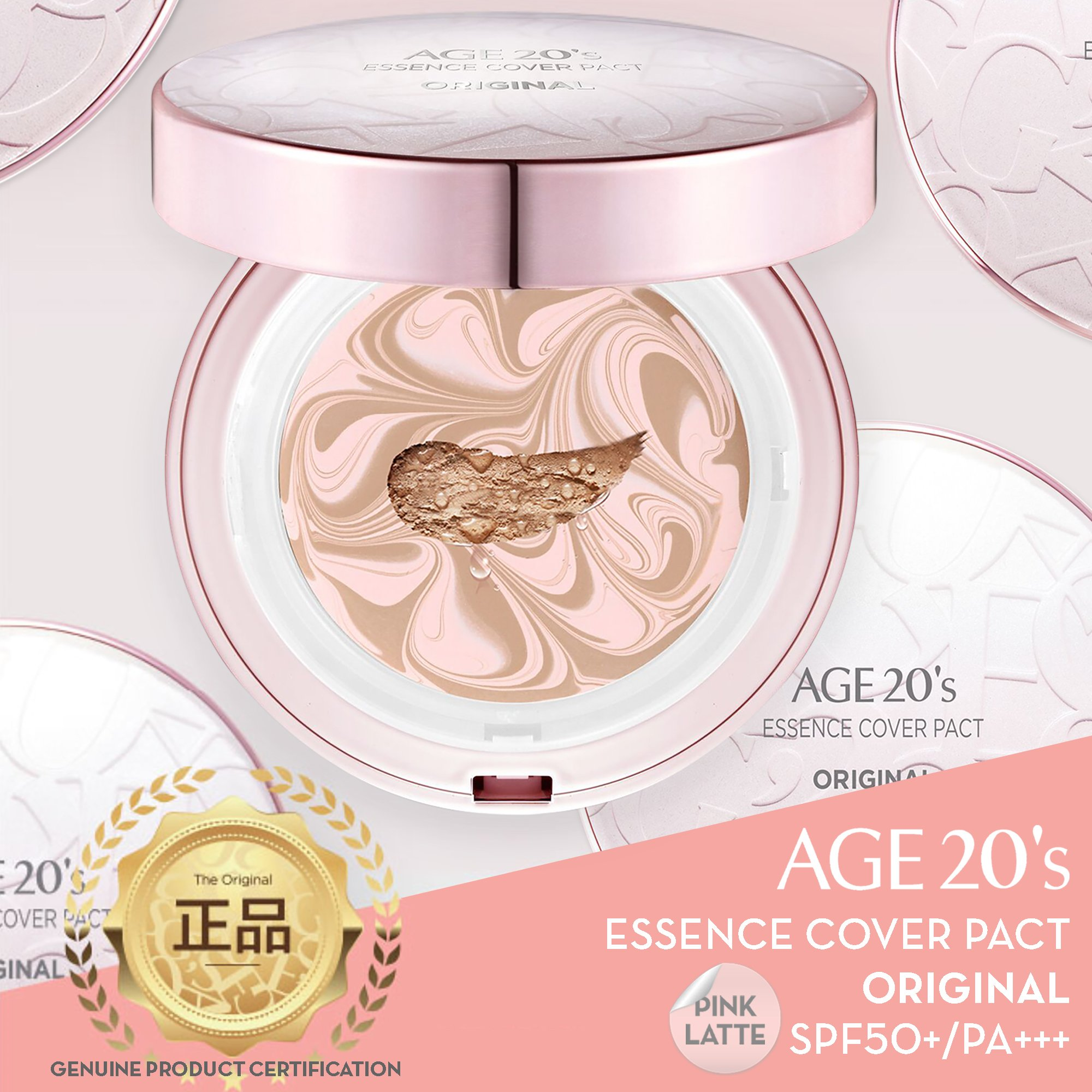 [ AGE TWENTIES ] Age 20's Compact Foundation Premium Makeup, 1 Extra Refill - Pink Latte Essence Cover Pact SPF50+ (Made in Korea) - Pink/Natural Beige (Color 23)