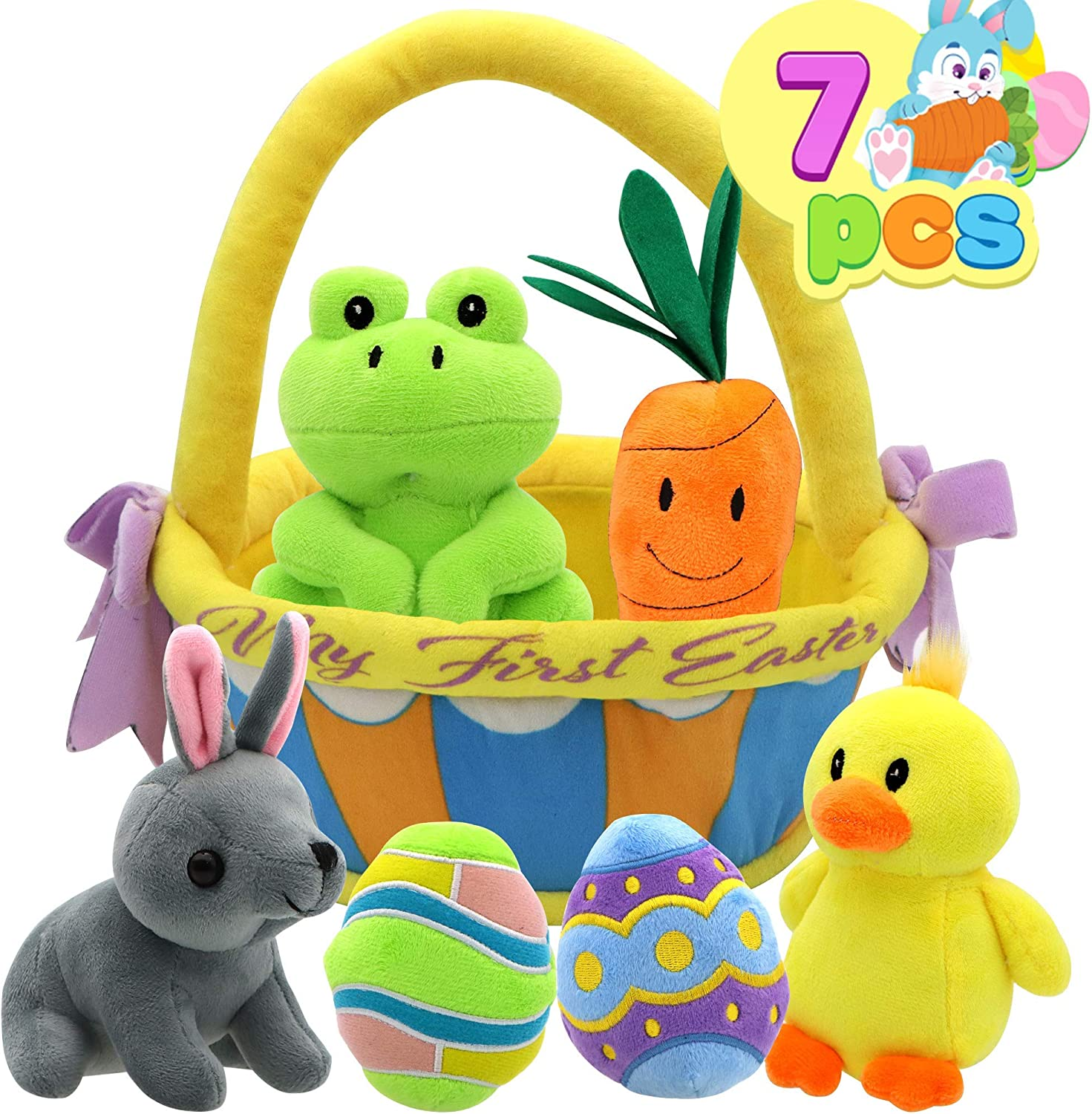 7 Pcs My First Easter Basket Plush Original Style Plushies Playset Basket Stuffers Toys for Easter Party Favors,Plush Easter Basket for Baby, Toddler & Kids of All Ages