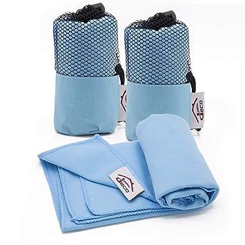 Decocasa Pack 2 Toallas Microfibra Compactas, Ligeras y Absorbentes, 40x80 Azul: Amazon.es: Hogar
