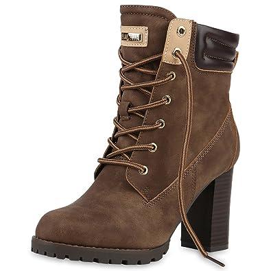 fbb999a34274f3 napoli-fashion Damen Schuhe Schnürstiefeletten Worker Boots Stiefeletten  Block Absatz Khaki 36 Jennika