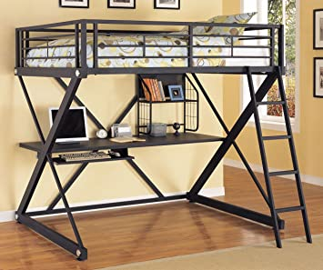Powell Furniture Z Bedroom Full Size Study Metal Loft Bunk Bed In Powder Coat