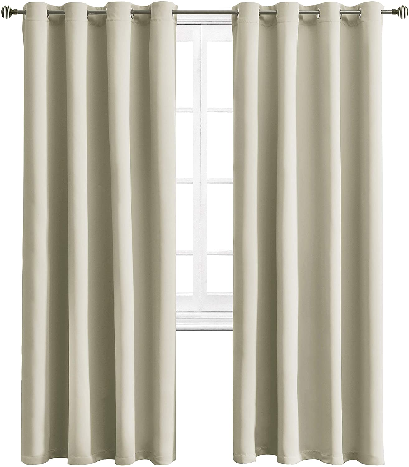 WONTEX Blackout Curtains Room Darkening Thermal Insulated with Grommet Curtains for Living Room, 52 x 84 inch, Light Beige, 2 Panels