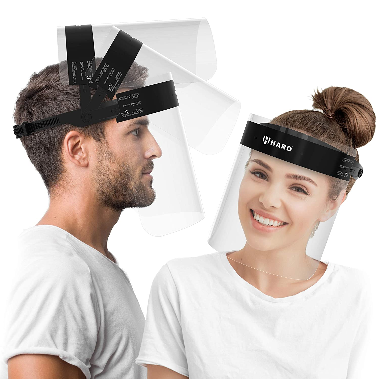 HARD Pantalla Protección Facial 10 x Soporte y 20 x Viseras intercambiables, Face Shield abatible con antivaho, Visera con cierre ajustable - Negro/Negro