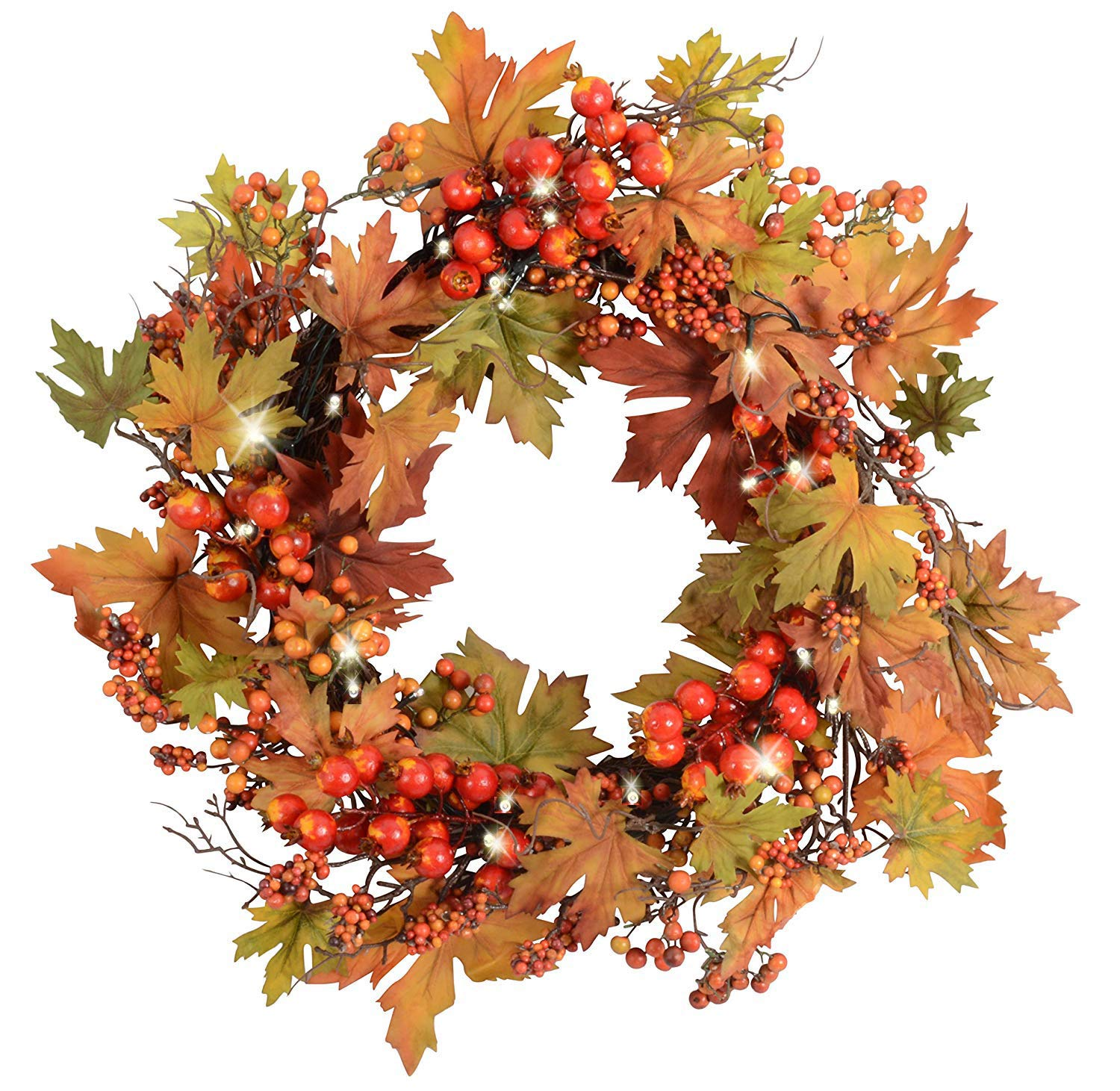 Ten Waterloo 24 Inch Pre-Lit LED Fall and Thanksgiving Wreath with Lights and Timer - Battery Operated - Artificial Maple Leaf Wreath with Berries on Twig Base