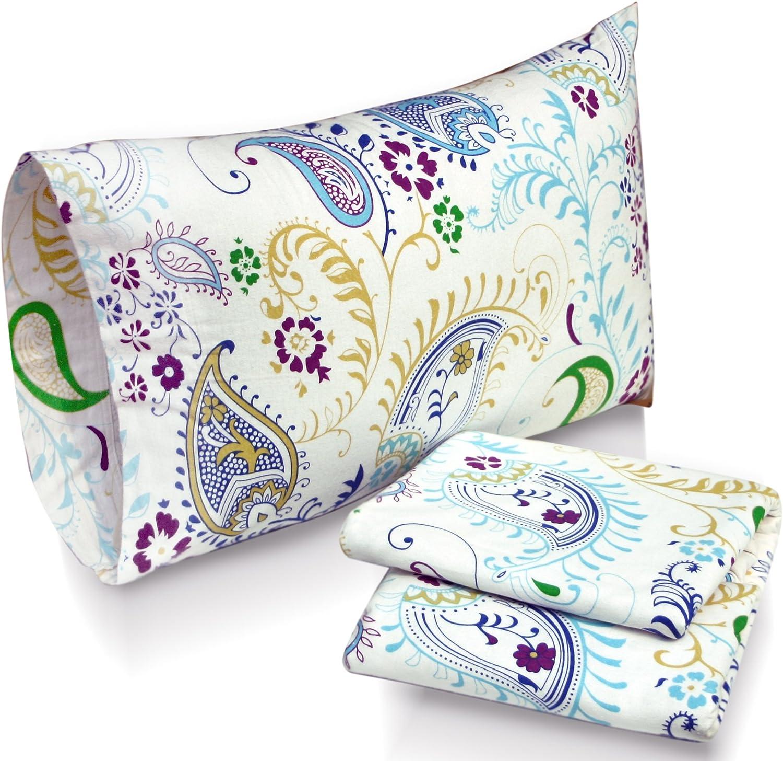 Tribeca Living Paisley Garden Printed Deep Pocket Flannel Sheet Set with Pillowcase, Queen