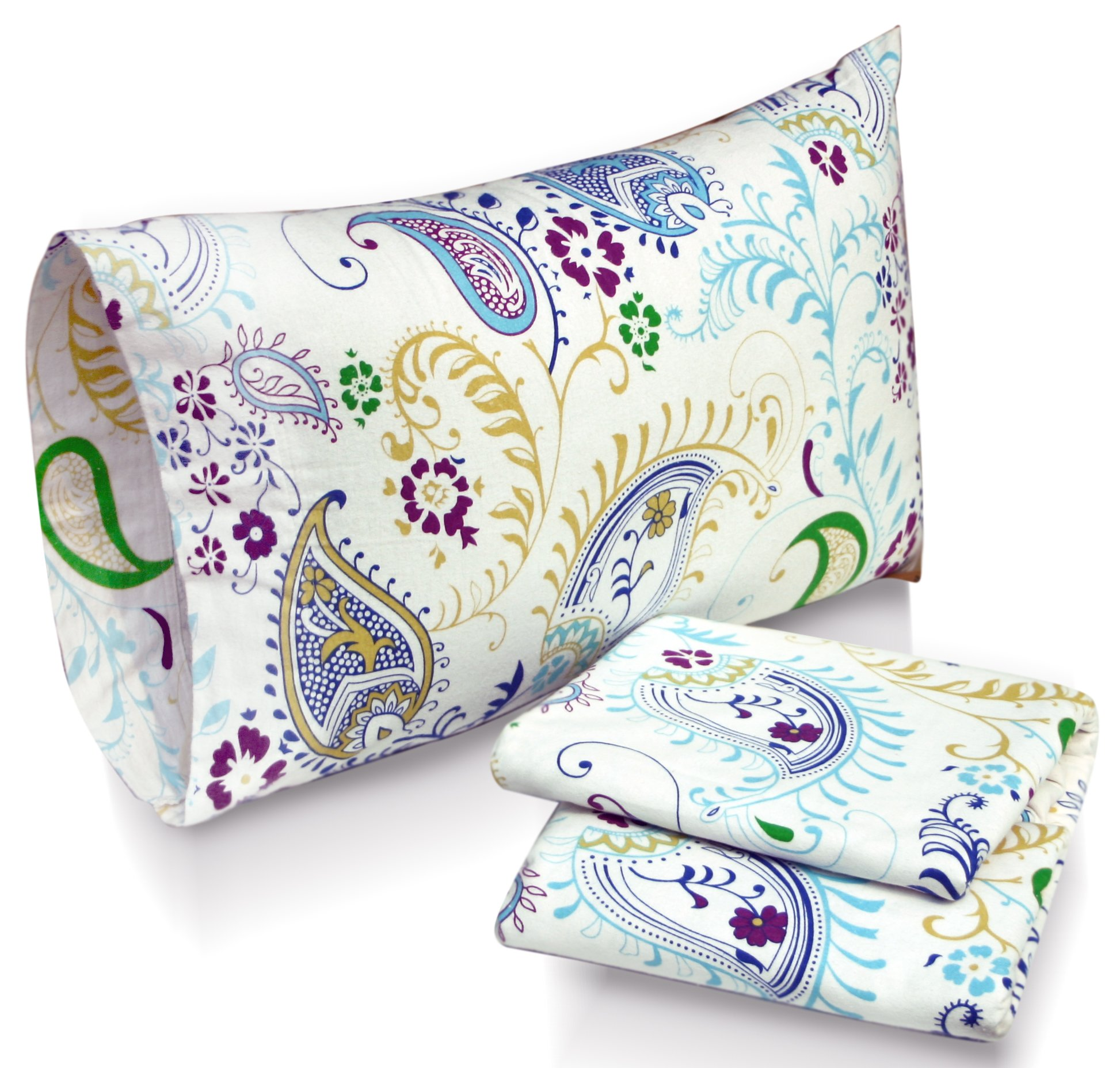 Tribeca Living Paisley Garden Printed Deep Pocket Flannel Sheet Set with Pillowcase, King - This extra deep pocket sheet set includes one flat sheet, one fitted sheet and two pillow cases 100% Cotton Flannel 170-gram weight for incredibly warm comforter on the coldest nights - sheet-sets, bedroom-sheets-comforters, bedroom - 810PGTmXs2L -