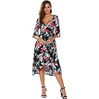 Beyove Women's Floral Deep V-Neck Trumpet Sleeve Flowy Party Beach Cover up Maxi Dress