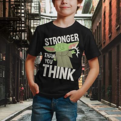 Star Wars Boy/'s The Mandalorian Baby Yoda Stronger Than You Think T-Shirt