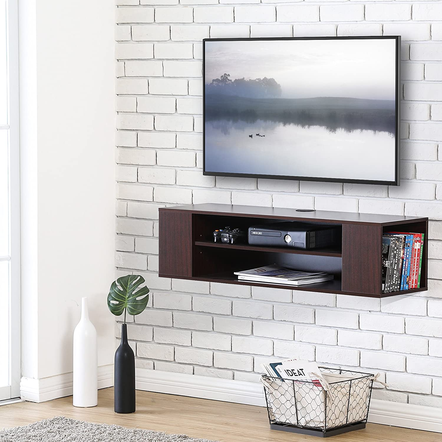 Amazon.com: Wall Mounted Walnut TV Stand Console Storage ...