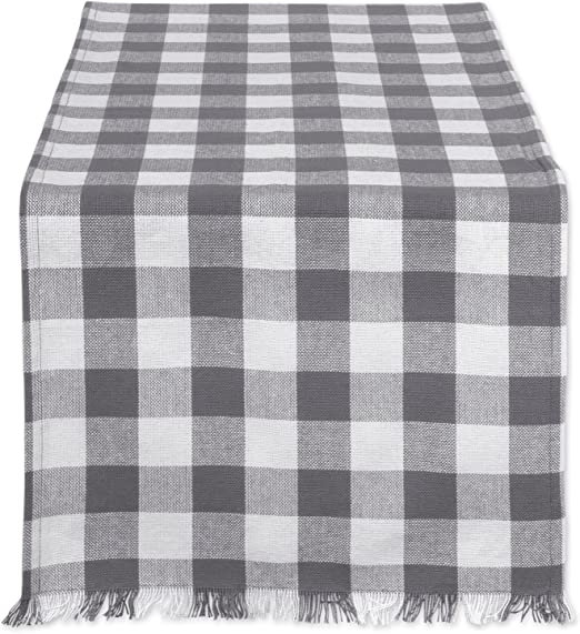 Family Dinners Outdoor Parties DII Cotton Woven Heavyweight Table Runner with Decorative Fringe for Spring Gray Check /& Everyday Use /& Everyday Use Summer 14x72 14x72 Gray Check CAMZ37577