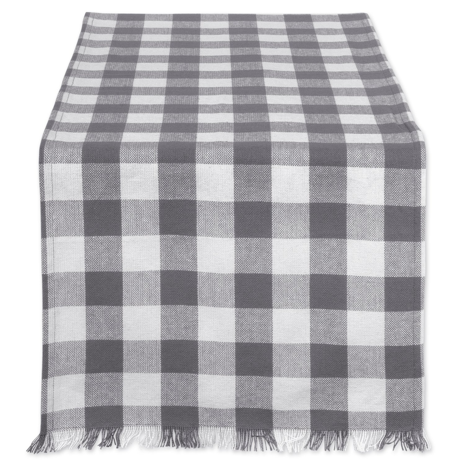 DII Cotton Woven Heavyweight Table Runner with Decorative Fringe for Spring, Summer, Family Dinners, Outdoor Parties, & Everyday Use (14x108'') Gray Check by DII