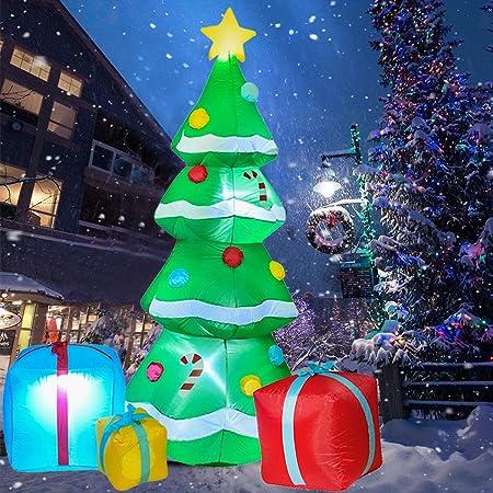YQing 213cm Árbol de Navidad Inflable Luces LED, árbol de ...