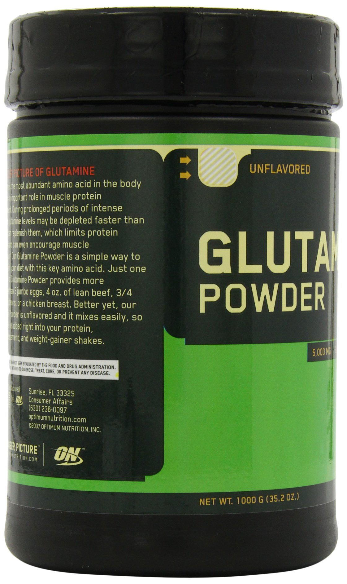 Optimum Nutrition Glutamine powder, unflavoured, 2.2 LB (1000 gram) 194 servings