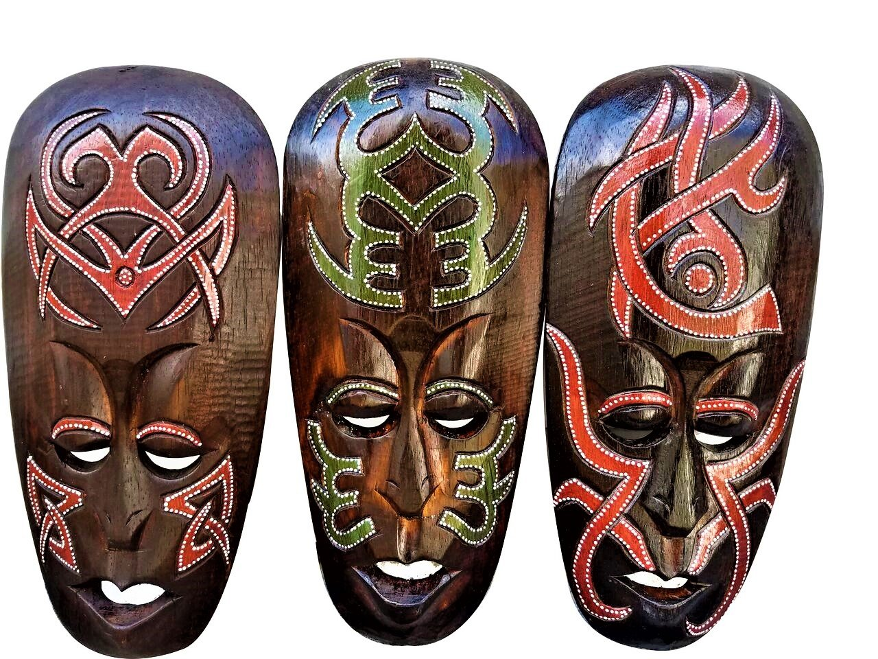 Gorgeous Set Of (3) Hand Chiseled Wood African Style Wall Decor Masks by All Seas Imports