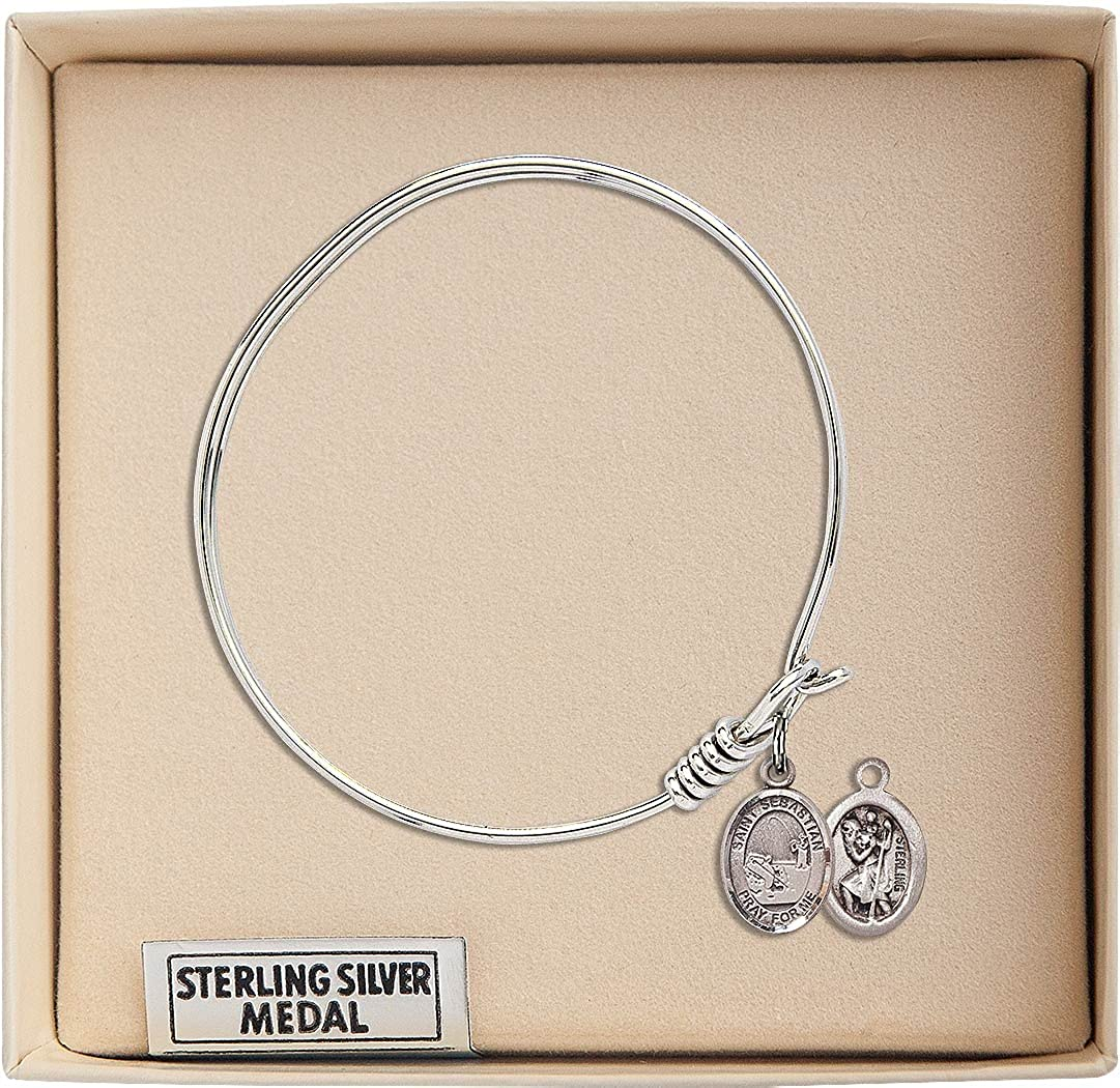 St Sebastian Baseball Charm On A 6 1//4 Inch Round Eye Hook Bangle Bracelet