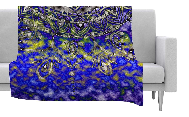 60 X 50 60 by 50-Inch Kess InHouse Li Zamperini Ombre Green Purple Fleece Throw Blanket
