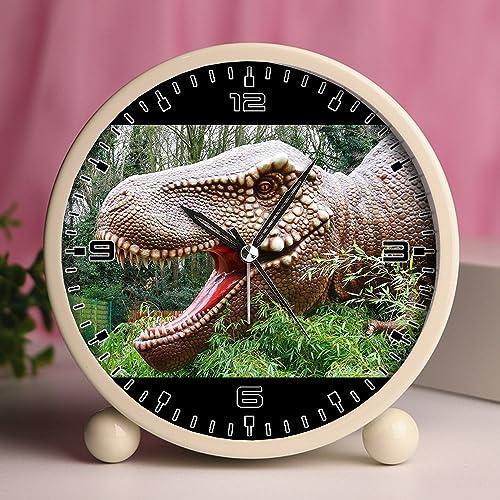 GIRLSIGHT Alarm Clock, Bedroom Tabletop Retro Portable Clocks with Nightlight Custom Designs Dinosaurs 255_Dinosaurs Prehistoric Jurassic Animal Reptile