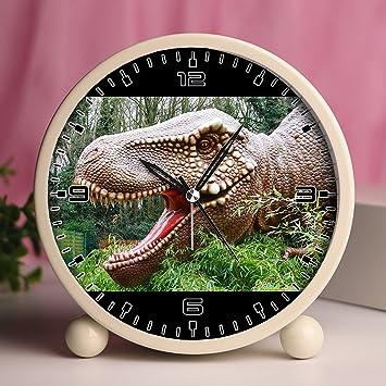 Reloj despertador, mesa de dormitorio retro portátil relojes con luz nocturna diseños personalizados dinosaurios 255_dinosaurios prehistórico repelente de ...
